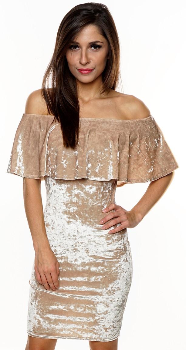 Sametové šaty MIRINA GOLD Barva: Zlatá, Velikost: L