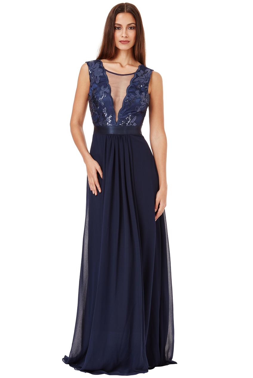 Dlouhé plesové šaty EMILY NAVY Barva  Tmavě modrá 6c8e3be056