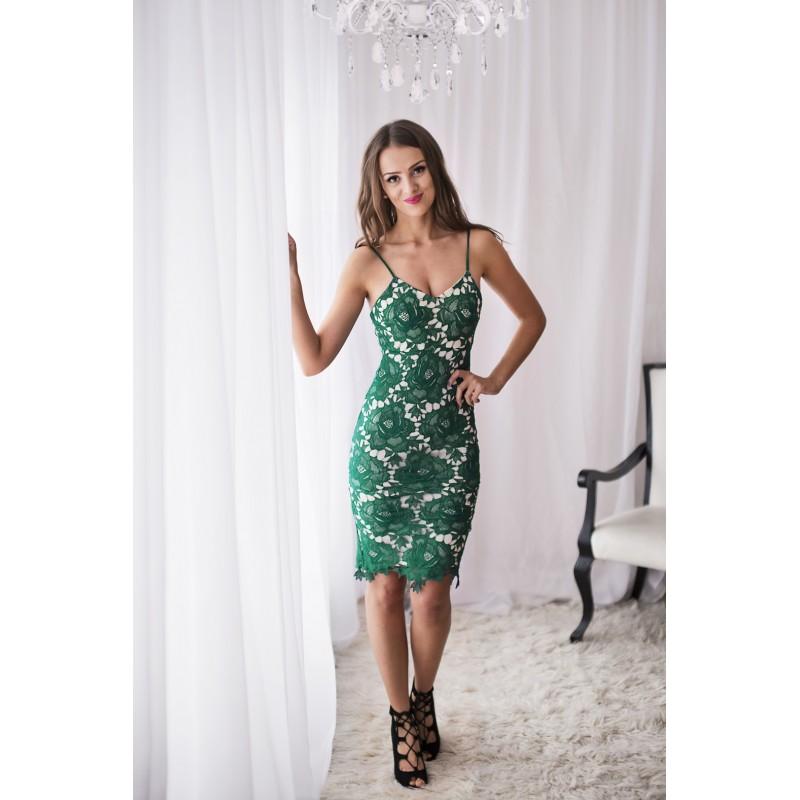 Dámské krajkové Šaty DAYNA DARK GREEN Barva: Zelená, Velikost: S