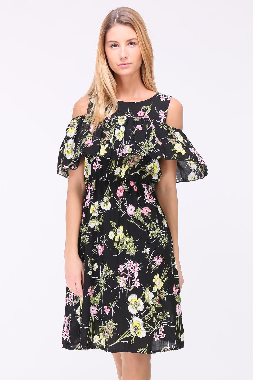 Letní květované šaty LEONE BLACK Barva: Černá, Velikost: S/M