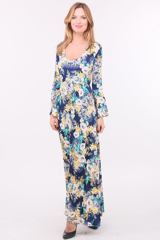 Letní dlouhé květované šaty LIMA BLUE Barva: Modrá, Velikost: M/L