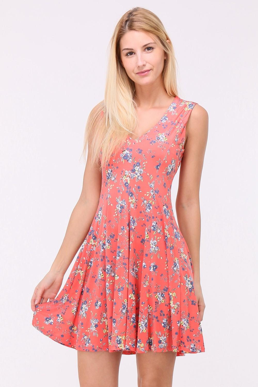 Letní Květované šaty LUNA CORAL Barva: Oranžová, Velikost: S