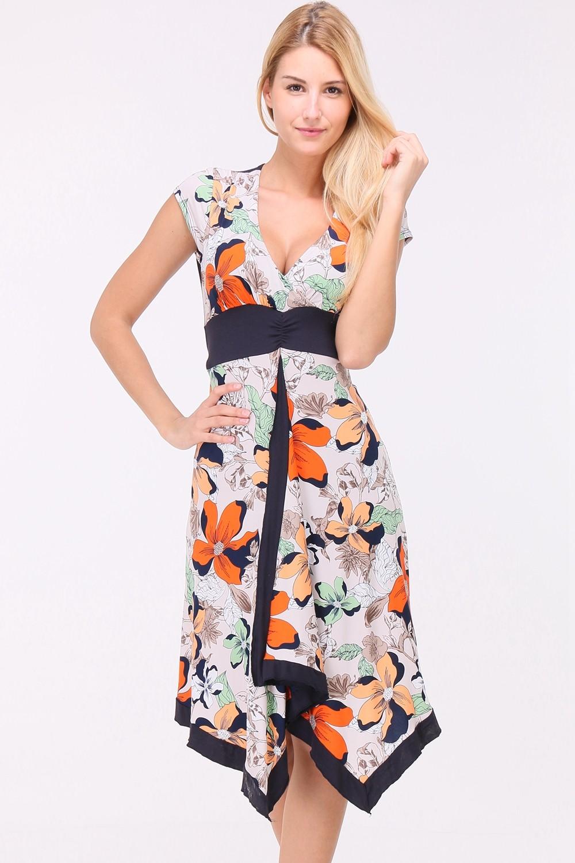 Letní Květované šaty SUZAN CORAL Barva: Oranžová, Velikost: M