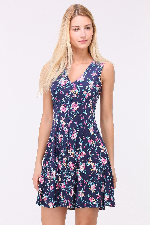 Letní Květované šaty LUNA BLUE Barva: Modrá, Velikost: M