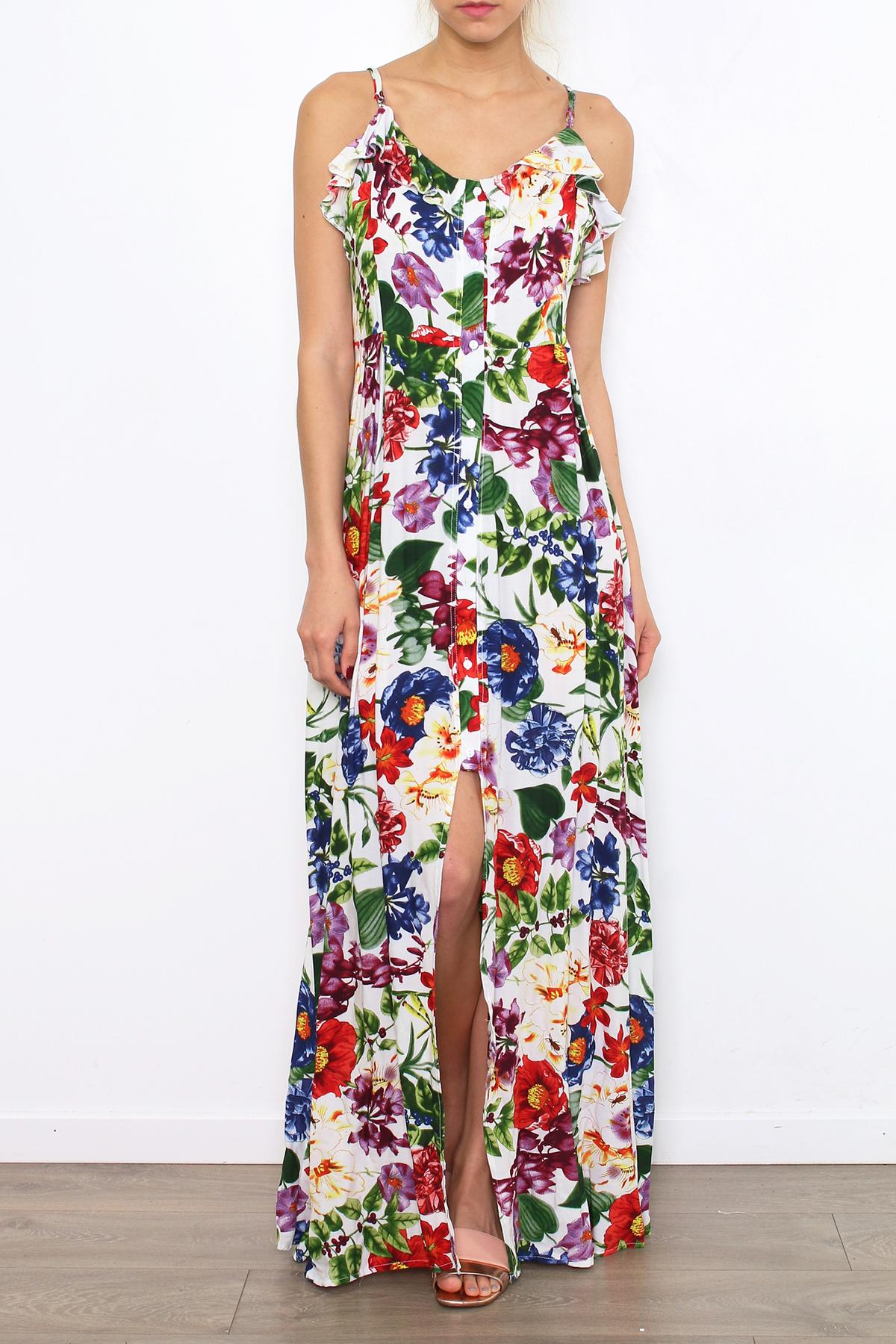 Dlouhé letní květované šaty JONA RED Barva: Bílá, Barevná, Velikost: M