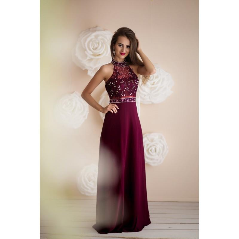 Společenské Šaty EMELINE BORDO Barva: Vínová, Velikost: S