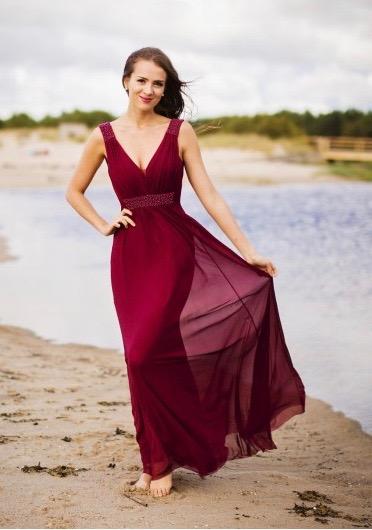 Společenské Šaty MELÁNIE BORDO Barva: Vínová, Velikost: S