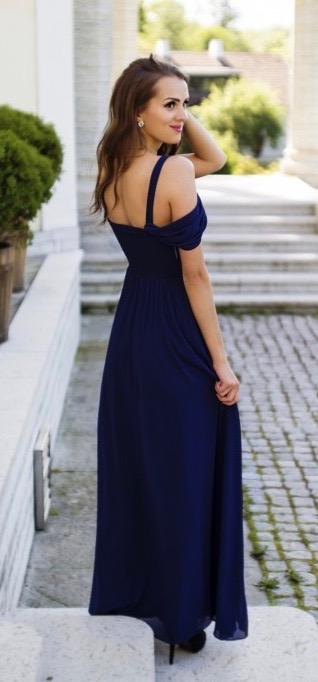 Společenské Šaty ANGELIKA NAVY Barva: Tmavě modrá, Velikost: S