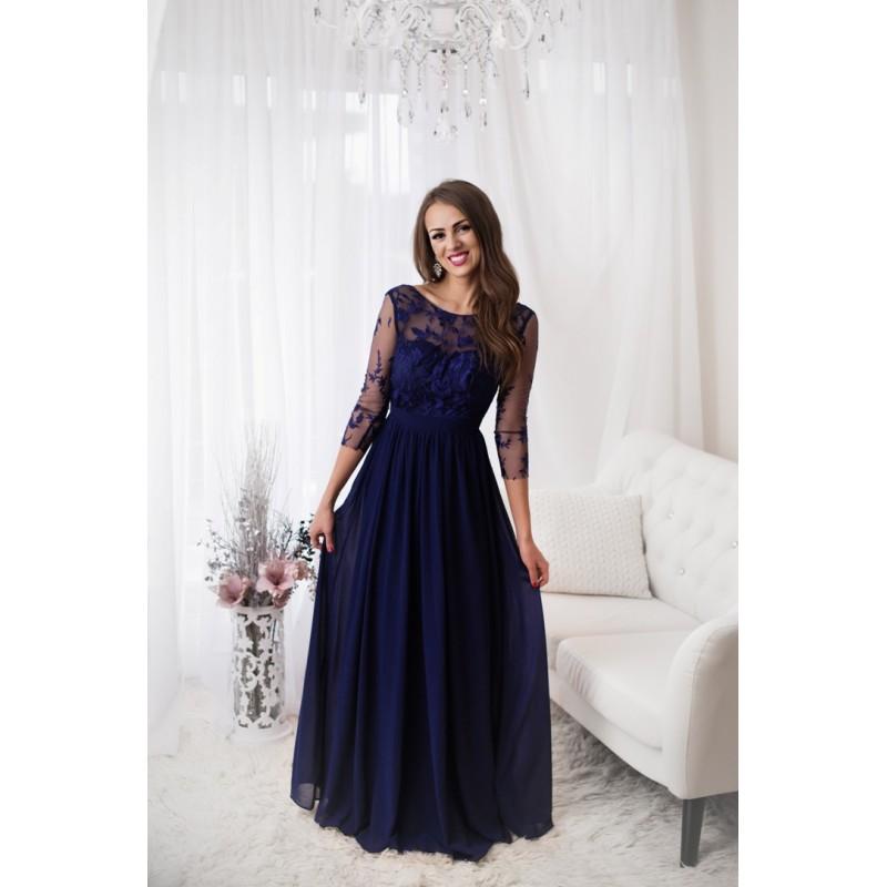 Společenské Šaty LIA NAVY Barva: Tmavě modrá, Velikost: S