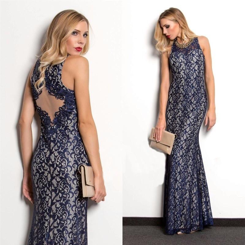 Společenské Šaty MARIANNA NAVY Barva: Tmavě modrá, Velikost: S