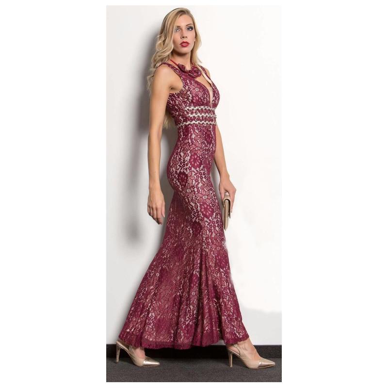 Společenské Šaty ENEA BORDO Barva: Vínová, Velikost: S