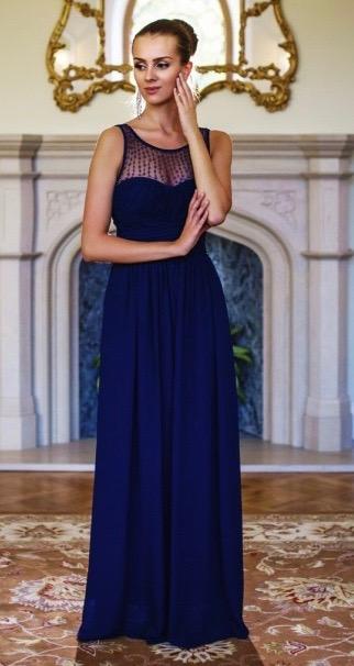 Společenské Šaty DANA NAVY Barva: Tmavě modrá, Velikost: S