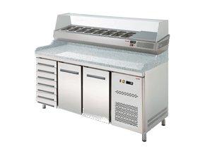 Chladicí pizza stůl s vitrínou + 7 neutrálních zásuvek RTP-2D + 72N