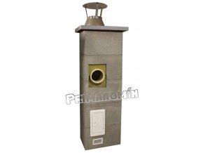 Komínový systém 5 m, 200 mm, s ventilační šachtou, kolmá odbočka
