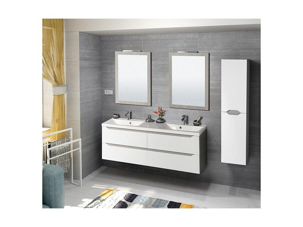 SAPHO Koupelnový set WAVE 150, dvojumyvadlo, bílá/dub stříbrný KSET-019