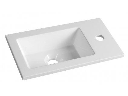 AQUALINE Umyvadlo 40x22 cm, litý mramor, bílá