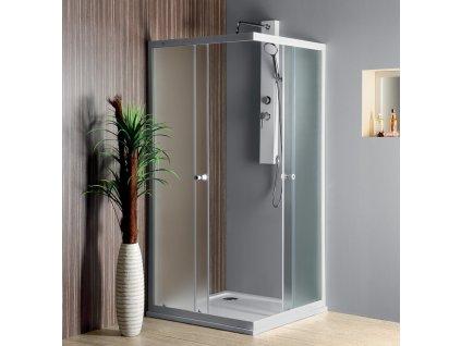 AQUALINE ALAIN čtvercová sprchová zástěna 800x800 mm, sklo BRICK