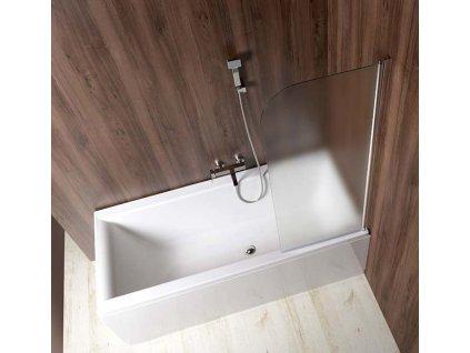 Aqualine VILMA vanová zástěna 600x1400 mm, chrom, pravá, sklo brick AQ6018P