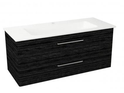 Sapho PURA umyvadlová skříňka, 2x zásuvka 117x50,5x48,5cm, graphite line PR128