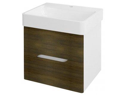 SAPHO MEDIENA umyvadlová skříňka 57x50,7x48,5cm, bílá mat/dub graphite MD061
