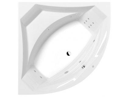 POLYSAN ROSANA HYDRO hydromasážní vana, 140x140x49cm, bílá 64119H - Vany > Hydromasážní vany