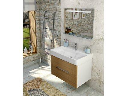SAPHO Koupelnový set MEDIENA 77, bílá mat/dub natural KSET-018
