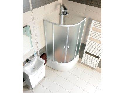 AQUALINE Sprchová vanička akrylátová, čtvrtkruh 90x90x28cm včetně nožiček, R550