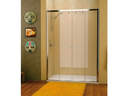 Sanswiss Pur Light S - PLS4 - dvoudílné posuvné dveře 150 cm, bílý rám, sklo čiré