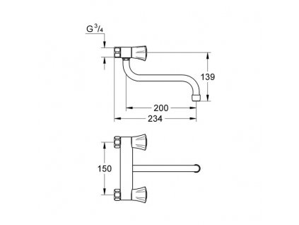 Grohe Costa L dřezová kohoutková baterie, chrom 31182001
