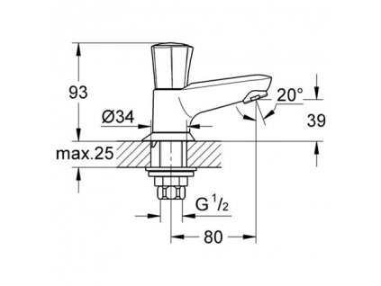 Grohe Costa L stojánkový ventil, chrom 20404001