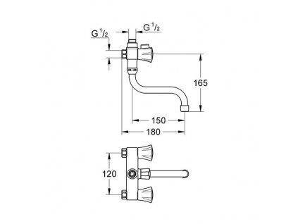 Grohe Costa L vanová víceúčelová baterie, rozteč 120 mm, chrom 26781001