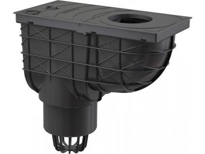 AlcaPLAST Lapač střešních splavenin 300 × 155/110 přímý černý
