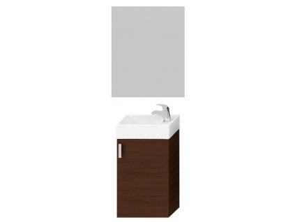 Jika Skříňka s umývátkem 40 cm, včetně zrcadla a osvětlení H4535141753021  tmavý dub