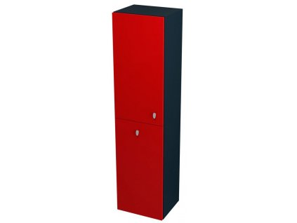SAPHO AILA skříňka vysoká s košem 35x140x30cm, levá, červená/černá 55671
