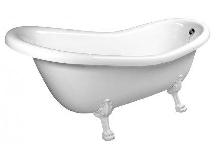 POLYSAN RETRO volně stojící vana 158x73x72cm, nohy bílé, bílá 37112 - Vany > Volně stojící vany