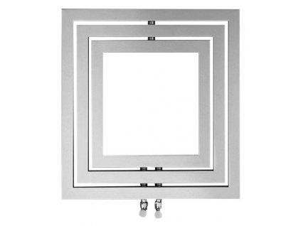 Otopné těleso / radiátor / topný žebřík: SAPHO MONOPOLI otopné těleso 600 x 600mm, 312 W, stříbrná structural (L-606S) PO606SS od značky Sapho. Série: Poli. Šířka: 600 mm. Výška: 600 mm. Výkon: 312 W. Barva: Stříbrná. Materiál: Ocel. Možnost vytápění: Kombinované vytápění. Doporučená topná tyč o výkonu: 300 W. Doporučené umístění: Koupelna. Rozměry (šxv): 600 x 600 mm. Rozteč připojení 50 mm: Symetrické (na střed). Rozteč připojení přesně: 50 mm. Styl: Designový a moderní. Tvar: Designový, Rámový. Připojení: Středové připojení.