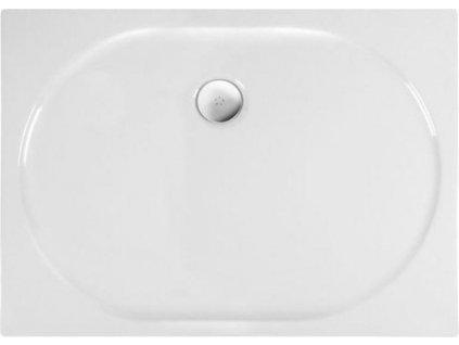 POLYSAN ELIPSA sprchová vanička akrylátová, obdélník 100x80x4cm, bílá