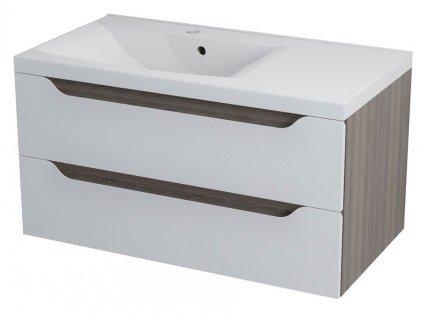 SAPHO WAVE umyvadlová skříňka 89,7x45x47,8cm, levá, bílá/mali wenge WA090L