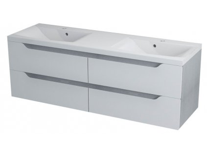 Sapho WAVE dvojumyvadlová skříňka 149,7x50x47,8cm, bílá/dub stříbrný (WA152) - WA150-3011