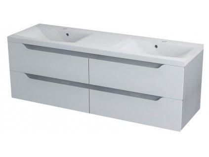 SAPHO WAVE dvojumyvadlová skříňka 149,7x50x47,8cm, bílá/dub stříbrný WA152