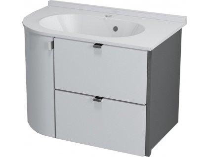 Sapho PULSE umyvadlová skříňka 75x52x45 cm, pravá, bílá/antracit (PU076P) - PU076-3034