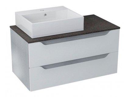 SAPHO WAVE umyvadlová skříňka pro Rockstone desku 90x45x48cm, levá, bílá/mali wenge WA090KL