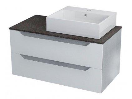 SAPHO WAVE umyvadlová skříňka pro Rockstone desku 90x45x48cm, pravá, bílá/mali wenge WA091KP