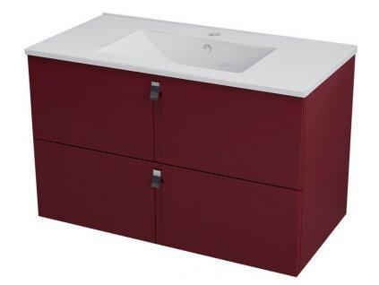 SAPHO MITRA umyvadlová skříňka 89,5x55x45,2 cm, bordó MT093