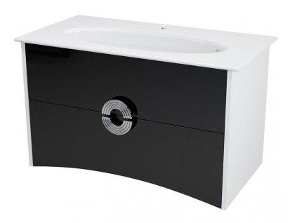 SAPHO AVEO umyvadlová skříňka 96,5x58x49cm, bílá/černá AV100