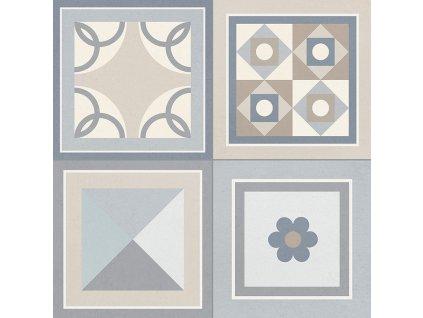 GRENIER Grey 33,15x33,15 (bal.= 1,32 m2) od výrobce Gayafores. Série: GRENIER. Styl: art-deco, dekorativni, moderní styl, patchwork, retro. Rozměry: 33,15x33,15. Balení: 1,3200 m2. Materiál: keramika. Barva: mix. Použití: obklad, dlažba. Povrch: mat. Umístění: chodba, koupelna, kuchyň, obývací pokoj, technický prostor, terasa. Produkt z kategorie: Obklady a dlažby > Dekorativní obklady. <p>Z důvodu zvýšených nákladů na logistiku obkladů a dlažeb je <strong>minimální hodnota celkové objednávky 15.000 Kč</strong> (hodnota objednávky je součet všech objednaných produktů).</p>