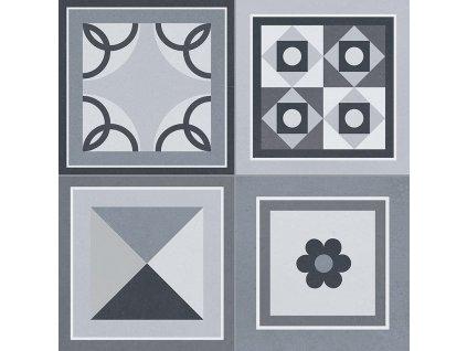 GRENIER Black 33,15x33,15 (bal.= 1,32 m2) od výrobce Gayafores. Série: GRENIER. Styl: art-deco, dekorativni, moderní styl, patchwork, retro. Rozměry: 33,5x33,5. Balení: 1,3200 m2. Materiál: keramika. Barva: mix. Použití: obklad, dlažba. Povrch: mat. Umístění: chodba, koupelna, kuchyň, obývací pokoj, technický prostor, terasa. Produkt z kategorie: Obklady a dlažby > Dekorativní obklady. <p>Z důvodu zvýšených nákladů na logistiku obkladů a dlažeb je <strong>minimální hodnota celkové objednávky 15.000 Kč</strong> (hodnota objednávky je součet všech objednaných produktů).</p>