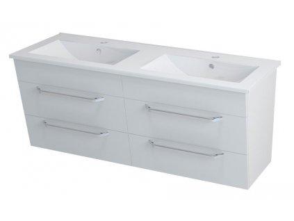 SAPHO KALI umyvadlová skříňka s umyvadlem 150x50x46 cm, bílá 2X560761601-150