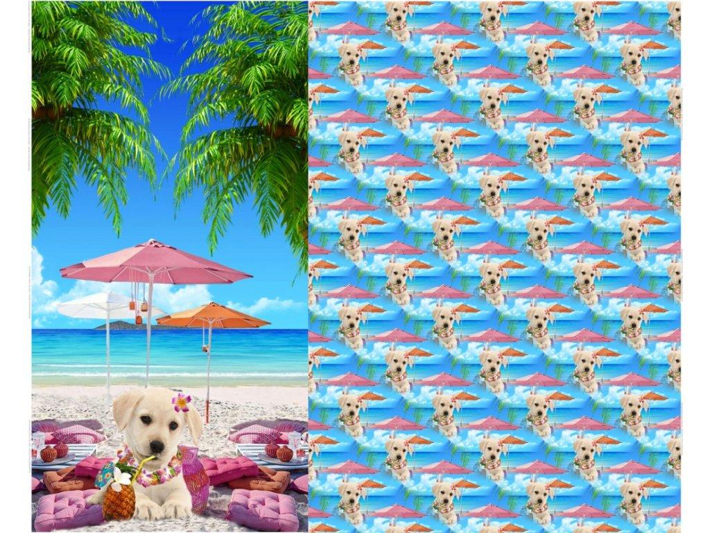Úplet s digitálním tiskem -  pejsek na pláži (panel 120 x 150 cm)