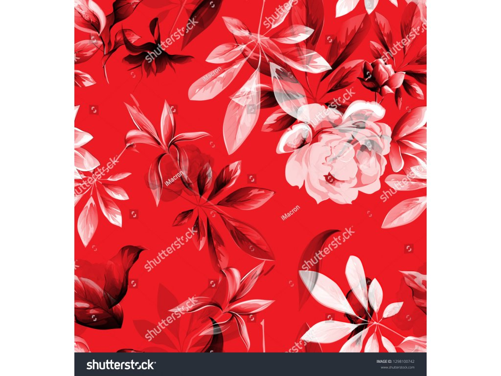 stock vector seamless floral background pattern abstract flowers peony and leaves on red pattern for textile 1298100742